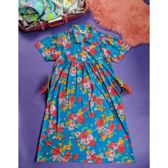 545184090f28 Vintage 80s 90s Blue Floral Mumu Maxi Dress Hawaii.  M_5bd8f4b9aa57195076c90e11